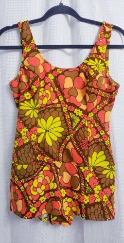 Vintage 70s Swimsuit Floral One Piece Swimdress Re