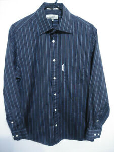 Faconnable Mens Size 3/15-1/2 Black Blue Striped Button Up Dress Shirt