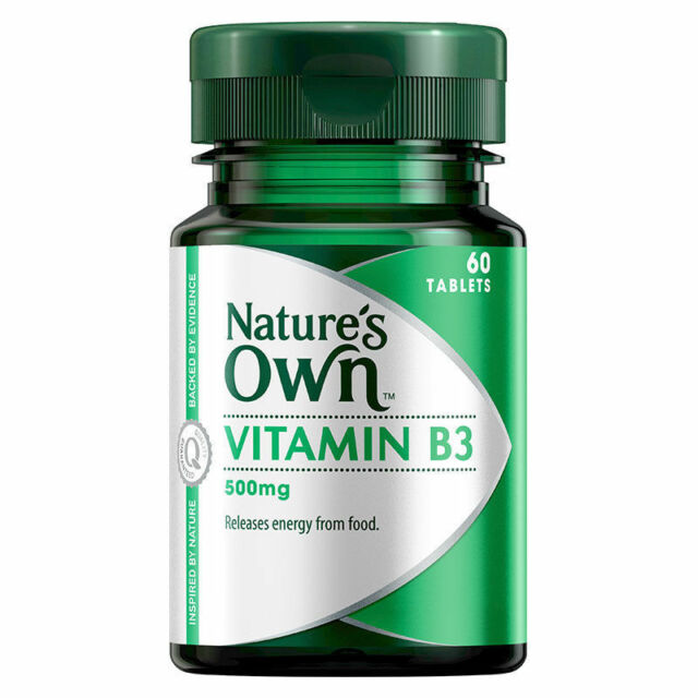 NATURE'S OWN VITAMIN B3 500MG 60 TABLETS SUPPORTS DNA REPAIR & SKIN HEALTH