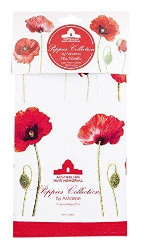 Poppies Tea Towel Ashdene Poppy Flowers 100 Cotton Red White For