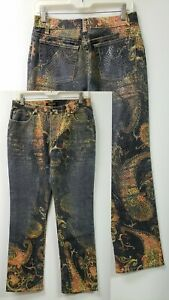 NEW-NWOT-ROBERTO-CAVALLI-Europa-Dye-PAISLEY-Boot-Italy-Jeans-M-MSR-28X32-stretch