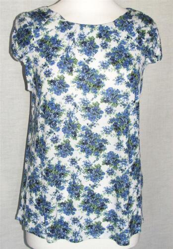 Neu Blau Rose auf Weiß Boden Kurzärmlig Top in Größen von UK 8 Sich 20