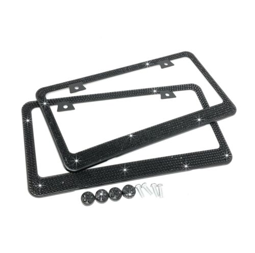 JR2 2 X BLING 7 Row BLACK Bling Diamond Crystal METAL License Plate Frame-CAP