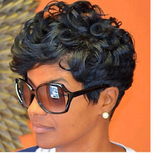 For Women Synthetic Hair Pixie Haircut Curly Wig With Bangs Black