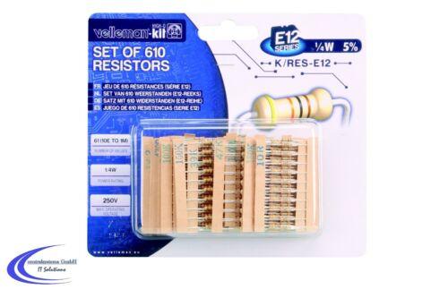 1//4W E12-10 Ohm bis 1 MOhm Set Widerstands Sortiment mit 610 Bauteilen