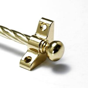 "3/8"" X 36"" Round Finial Strong Resistance To Heat And Hard Wearing 13 X Polished Brass Stair Rods Candy Twist"