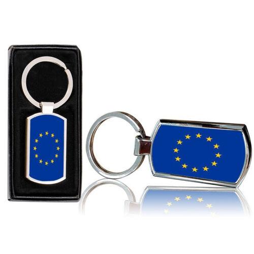 Eu Europäische Union Flagge Bedruckt Chrom Metall Schlüsselring Mit Zugabe Box