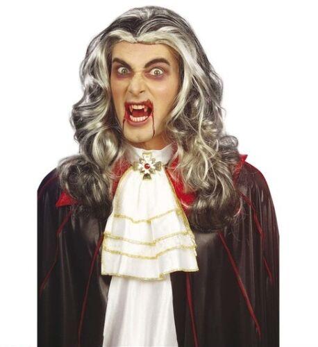 Da Uomo Grigio Vampiro Parrucca GOTHIC lungo Spaventosa Halloween Zombie conteggio DRACULA Fancy Dre