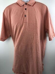 98abe977aab4 Tommy Bahama Men's Coral & White Stripe 100% Cotton Polo Shirt XL ...