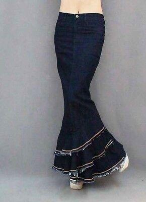 Woman Women Jeans Dark Denim Fish Tail Ultra Maxi Long Skirt Plus size S,M,L,XL