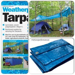 GREY TARPAULIN WATERPROOF CAMPING GROUND SHEET COVER 120g TARP CAR BOAT COVER
