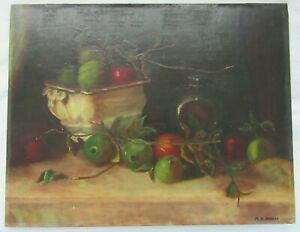 18-034-VINTAGE-Orig-Oil-Painting-Folk-Art-Still-Life-APPLE-FRUIT-Country-Primitive