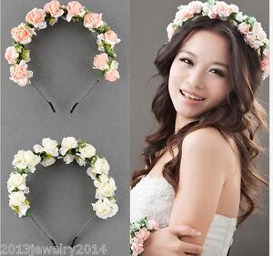 41803146fb1737 Das Bild wird geladen Boehme-Haarband-Blumen-Kranz-Blueten-geflochten- Stirnband-Festival-