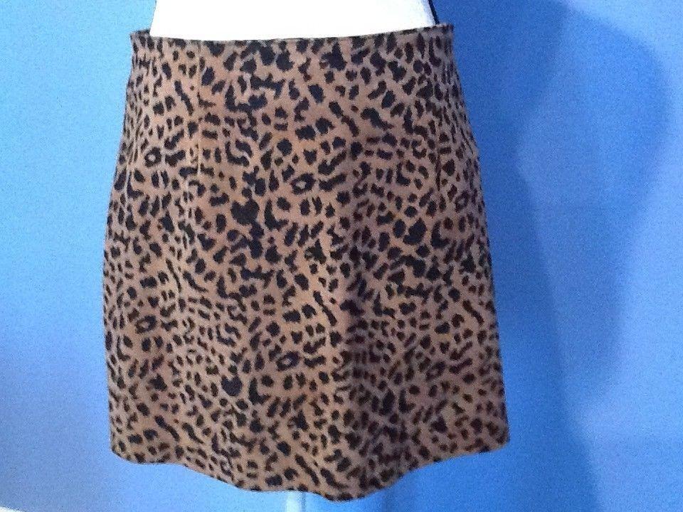 Womens Passport Leopard Leather Mini Skirt Size 9 Medium