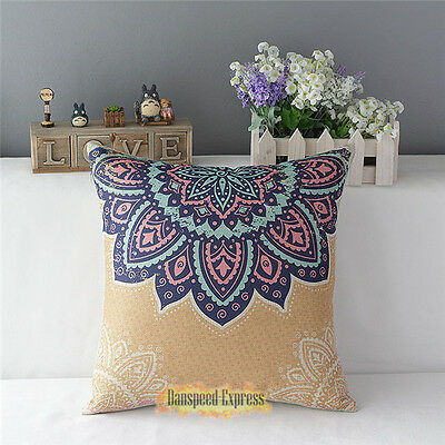 Decorative Cushion Cover Cotton Linen Sofa Throw Pillow Case Flower Pattern 17""