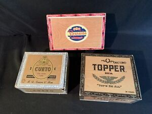 Vintage-Cigar-Box-Reynaldo-Lot-Cuevo-New-Haven-Topper-Breva-Indian