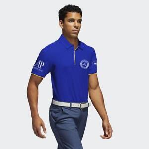 Men-039-s-Blue-Golf-Polo-PGA-sponsor-logo-Mercedes-RBC-Audemars-Piguet-and-CMG