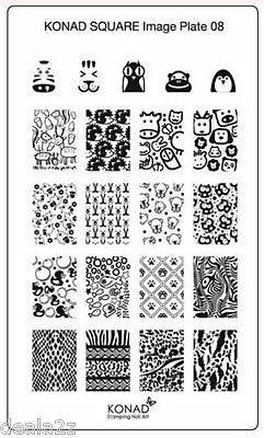 SQ08  Konad New Square Stamping Nail Art Image Plate Design template USA SELLER