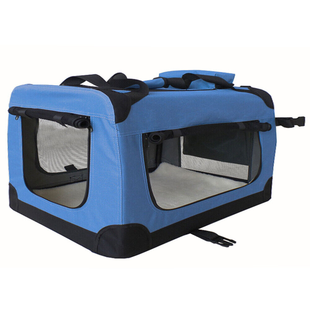 Caja De Transporte Plegable Caja Perrera Perro Gato Coche Blau Tamaño XXXXL