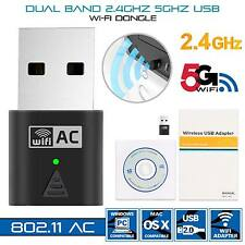 New Wireless Dual Band 2.4G 5G 5GHz 802.11AC USB Wifi Dongle Network Adapter