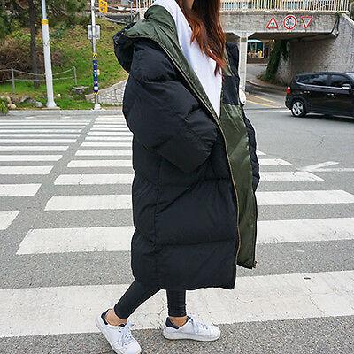 Women Loose Hooded Long Puffer Jacket Coat Padded Quilt Winter Warm Outerwear