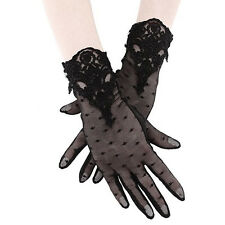 Restyle Guipure Lace Embroidered Polka Dot Witch Gothic Black Mesh Wrist Gloves