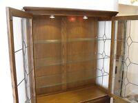 Old Charm Oak display cabinet, lockable leaded glass doors & under cupboard