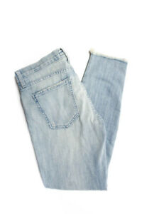Current-Elliott-Womens-Light-Wash-Ripped-Fringe-Trim-Jeans-Blue-Cotton-Size-27