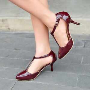 Women-Mary-Jane-T-Strap-Pointy-Toe-High-Heels-Pumps-Patent-Leather-Elegant-Shoes