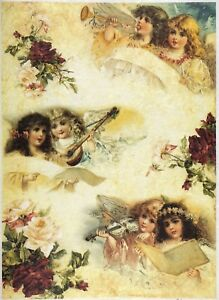 Rice Paper for Decoupage Scrapbooking Sheet White Angels