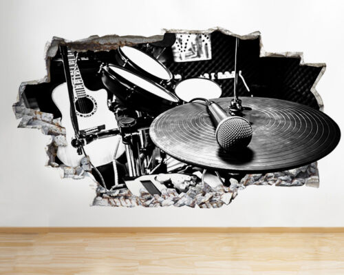 Q711 Music Studio Instrument Cool Smashed Wall Decal 3D Art Stickers Vinyl Room