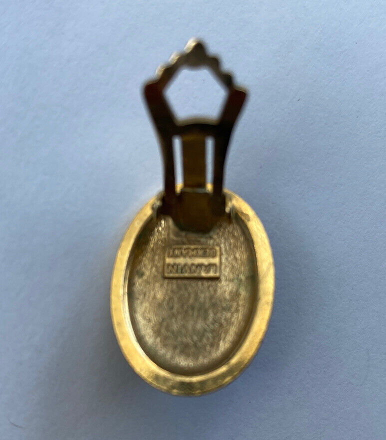 VINTAGE LANVIN CABOCHON EARRINGS BLUE STONE GOLD … - image 4