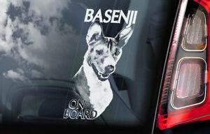 Basenji-On-Board-Auto-Finestrino-Adesivo-Africano-Bush-Congo-Cane-Firmare