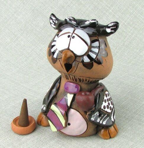 Ceramic Figurine Incense Cone Burner Owl H13cm FREE BOX of Incense Cones