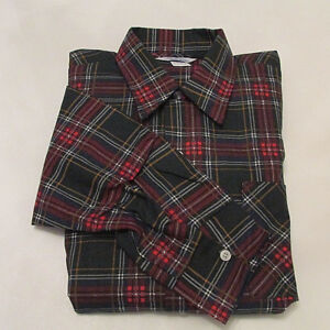 2a1d9a000b78 Details about NOS Vintage 60s Prest-Rite Men s Flannel Button Up Long  Sleeve Plaid Shirt Large