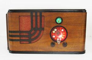 Old-Antique-Wood-Airline-Vintage-Tube-Radio-Restored-Working-w-Magic-Green-Eye