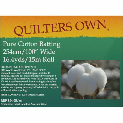 $12.99M - Quilter's Own 100% Cotton Batting Wadding Roll 15M x 2.54M Wide