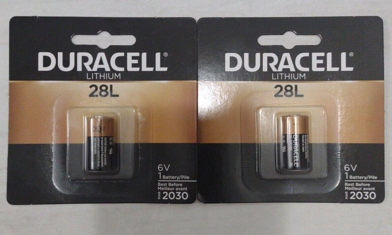 2 PACK 28L Duracell 6V Lithium Battery L544, 2CR1/3N, 2CR11108, Photo, Camera