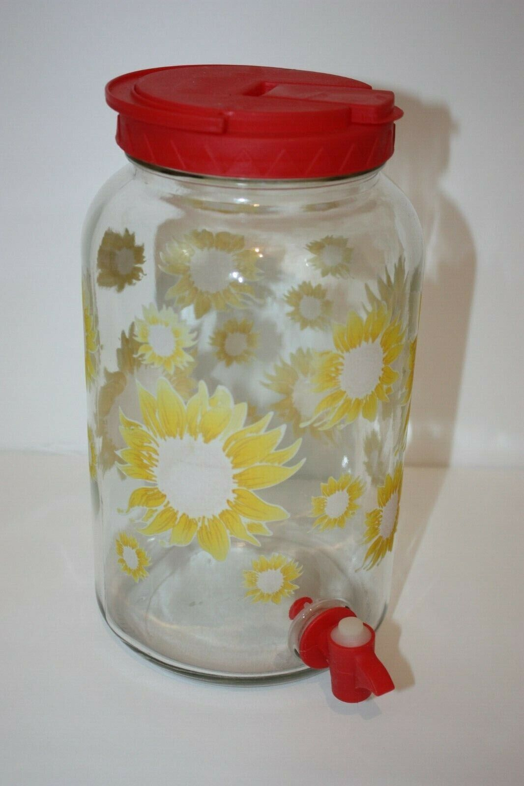 Red Sunflowers Print Glass Sun Tea Jar Jug Pitcher With Spout and Handle