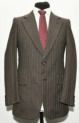 Superba Vintage D'avenza Harrods Vestito Su Misura Marrone A Righe Taglia 36 R 30 W 1970s-mostra Il Titolo Originale