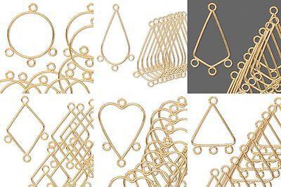 10 Gold Chandelier Bead Drop Earring Findings Hoop Teardrop Kite with Loops