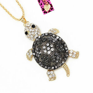 Women-039-s-Enamel-Crystal-Turtle-Tortoise-Pendant-Chain-Betsey-Johnson-Necklace