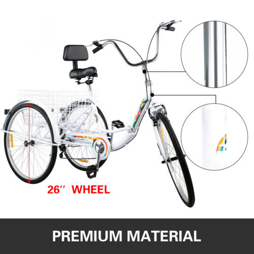 Foldable Tricycle Adult 26/'/' Wheels Folding Adult Tricycle 7-Speed 3 Wheel Bikes