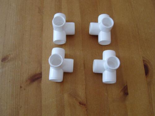GABBIA di frutta mobili Grade RACCORDI IN PVC 4 VIE 26.7mm 3//4 pollici Od Tubo Confezione da 4 a