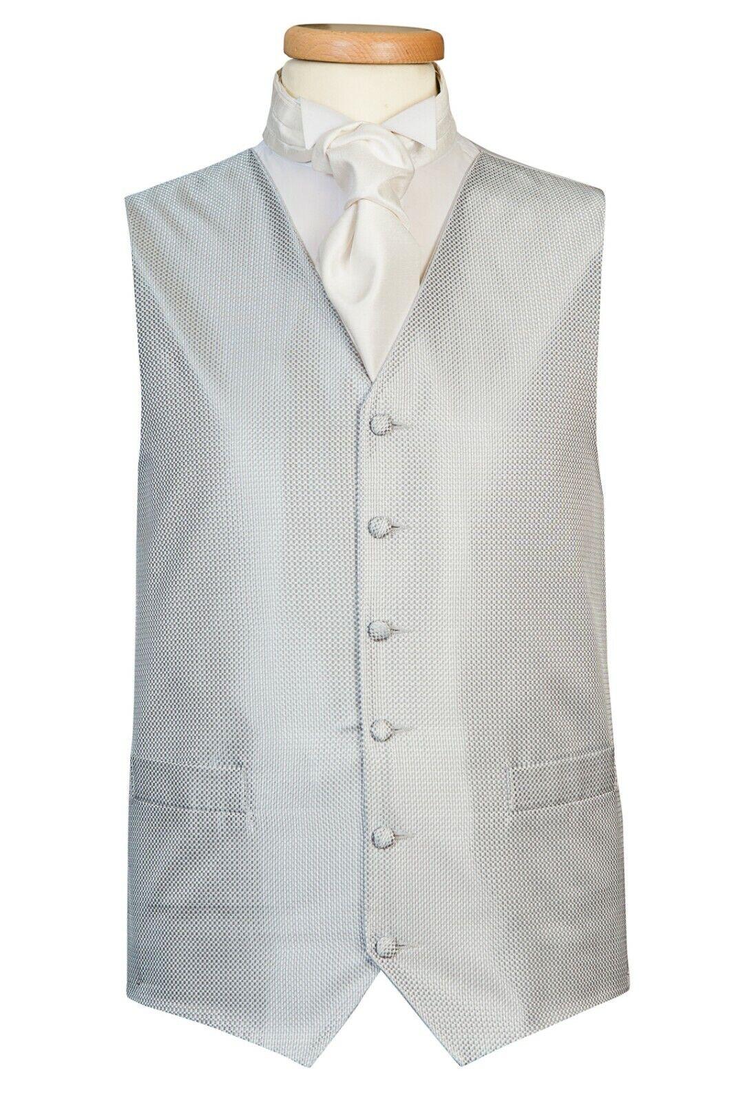 Grey Shimmer Dot Waistcoat Vest Wedding Formal UK Men's (A46)