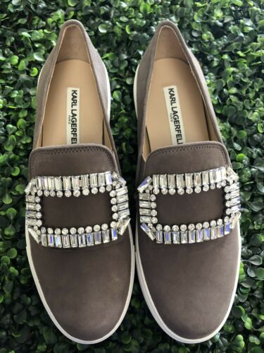 Pretty Karl Lagerfeld Slip on Rhinestone Sneaker Shoes Taupe NEW!