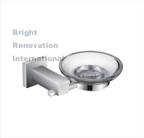 Brand New STREAM Square Bathroom Accessory Brass Chrome Glass Soap Dish Holder