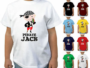 b407d2cba Image is loading CHILDRENS-PERSONALISED-PIRATE-AND-PARROT-T-SHIRT-BOYS-
