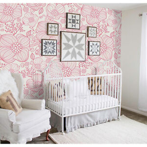 Red-line-flowers-Removable-wallpaper-red-and-white-wall-mural-design