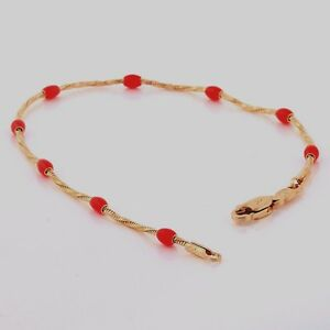 10K-Yellow-Gold-GF-Red-Bead-Twisted-Snake-Chain-Bracelet-Bangle-18cm-2mm